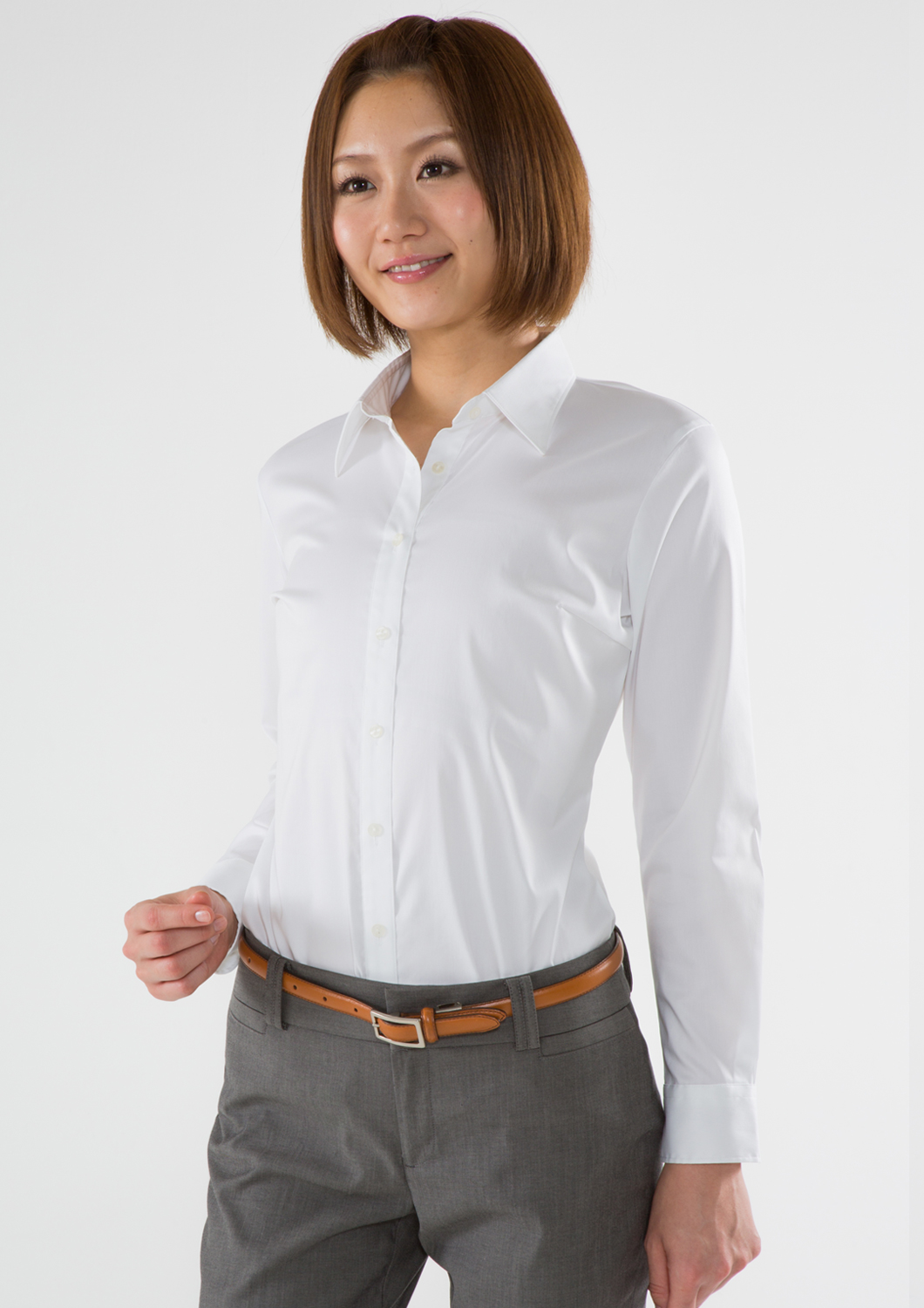 Women 39 s ladies bodysuit stretch shirt white long sleeve for Womens stretch button down shirt